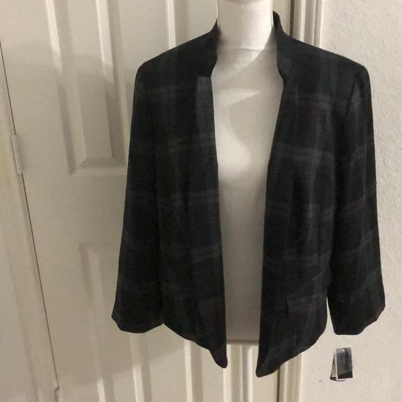 6d3306fd8e5e5 Nine West Women Plus Size Plaid Blazer